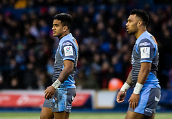 Willis Halaholo of Cardiff Blues with team-mate Rey Lee-Lo<br /> <br /> Photographer Simon King/Replay Images<br /> <br /> European Rugby Champions Cup Round 4 - Cardiff Blues v Saracens - Saturday 15th December 2018 - Cardiff Arms Park - Cardiff<br /> <br /> World Copyright © Replay Images . All rights reserved. info@replayimages.co.uk - http://replayimages.co.uk