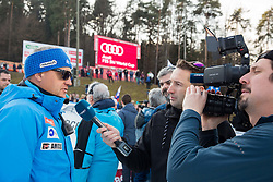 Denis Steharnic, coach of Slovenia interviewed by Damjan Medica and Rok Tajnikar of Planet TV after  the 2nd Run of the 7th Ladies' Giant slalom at 52nd Golden Fox - Maribor of Audi FIS Ski World Cup 2015/16, on January 30, 2016 in Pohorje, Maribor, Slovenia. Photo by Vid Ponikvar / Sportida
