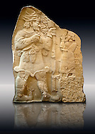 Moulding of 8th Cent. BC late Hittite rock relief . Warpalas, King of Tyana land, praying in front of a plant & storm god Tarhunza. From Ivriz (Konya, Ergeli) Turkey. Istanbul Archaeological Museum Inv. No 7869. .<br /> <br /> If you prefer to buy from our ALAMY STOCK LIBRARY page at https://www.alamy.com/portfolio/paul-williams-funkystock/hittite-art-antiquities.html - Type - Ivriz  - into the LOWER SEARCH WITHIN GALLERY box. Refine search by adding background colour, place, museum etc<br /> <br /> Visit our HITTITE PHOTO COLLECTIONS for more photos to download or buy as wall art prints https://funkystock.photoshelter.com/gallery-collection/The-Hittites-Art-Artefacts-Antiquities-Historic-Sites-Pictures-Images-of/C0000NUBSMhSc3Oo