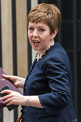 Downing Street, London, June 9th 2015. Leader of the House of Lords Baroness Stowell leaves 10 Downing Street following the weekly meeting of the Cabinet.