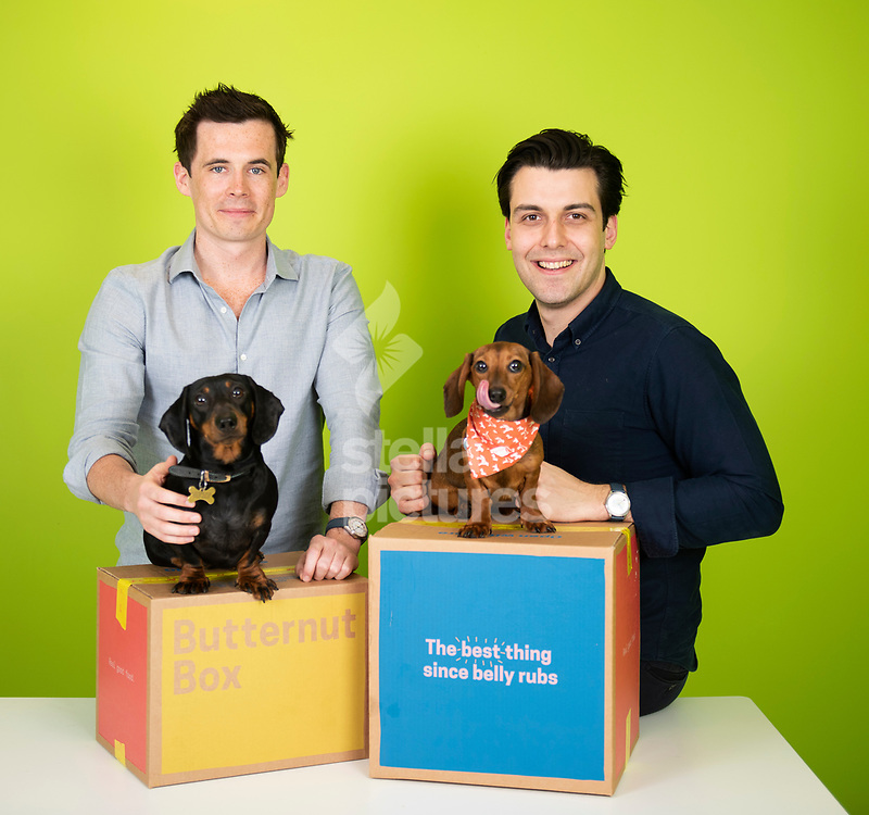 David Nolan (right) and Kevin Glynn, co founders of online dog food company, Butternut Box<br /> They are pictured with Margot and Evie (red neckerchief)<br /> Picture by Daniel Hambury/@stellapicsltd 07813022858<br /> 17/04/2018