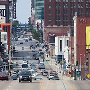 Inside the Link skywalk above Main Street in Kansas City, Missouri, looking north. Taken for Rhythm Engineering.