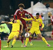 Belgium's Marouane Felaini tussles with Wales' Joe Ledley and Hal Robson-Kanu<br /> <br /> - European Qualifier - Belgium vs Wales- Heysel Stadium - Brussels - Belgium - 16th November 2014  - Picture David Klein/Sportimage