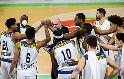 Jure Zdovc, head coach of Boulogne Metropolitans 92 with his players during basketball match between KK Partizan NIS Belgrade (SRB) and Boulogne Metropolitans 92 (FRA) in Top 16 Round 6 of 7DAYS Eurocup 2020/21, on March 10, 2021 in Arena Stozice, Ljubljana, Slovenia. Photo by Vid Ponikvar / Sportida