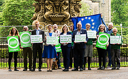 Pictured: Ross Greer, Maggie Chapman, Alison Johnstone and Andy Whightman<br /> <br /> The Scottish Green Party launched their statement on European Referendum today in Edinburgh. MSPs Ross Greer, Andy Wightman, Alison Johnstone were joined by co-convenor Maggie Chapman and activists as they the party's position on the referendum<br /> Ger Harley   EEm 13 June 2016