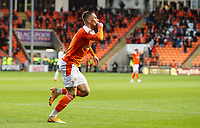 Blackpool's Jerry Yates celebrates scoring his side's third goal  <br /> <br /> Photographer Alex Dodd/CameraSport<br /> <br /> The EFL Sky Bet League One Play-Off Semi-Final 2nd Leg - Blackpool v Oxford United - Friday 21st May 2021 - Bloomfield Road - Blackpool<br /> <br /> World Copyright © 2021 CameraSport. All rights reserved. 43 Linden Ave. Countesthorpe. Leicester. England. LE8 5PG - Tel: +44 (0) 116 277 4147 - admin@camerasport.com - www.camerasport.com