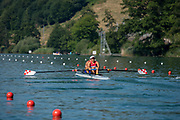"""Lucerne, SWITZERLAND, 13th July 2018, Friday, """"CRO M2-"""", Bow, """"Martin SINKOVIC"""" and """"Valent SINKOVIC"""", in the start Area, before their heat at the FISA World Cup series, No.3, Lake Rotsee, © Peter SPURRIER"""
