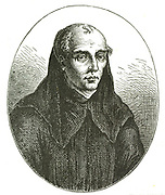 Guido of Arezzo (991/992-after 1033), Benedictine monk credited with the invention of  staff notation for music  which replaced neumatic notation. Also devised the Guidonian Hand to aid sight singing.  Engraving.