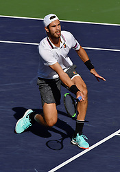 March 15, 2019 - Indian Wells, CA, U.S. - INDIAN WELLS, CA - MARCH 15: Karen Khachanov (RUS) returns the ball near the net in the second set of a quarterfinals match played during the BNP Paribas Open on March 15, 2019 at the Indian Wells Tennis Garden in Indian Wells, CA. (Photo by John Cordes/Icon Sportswire) (Credit Image: © John Cordes/Icon SMI via ZUMA Press)