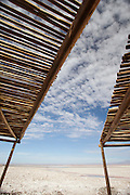 Visitor shelter, Chaxa Lagoon salt lake, Salar De Atacama, Chile, South America