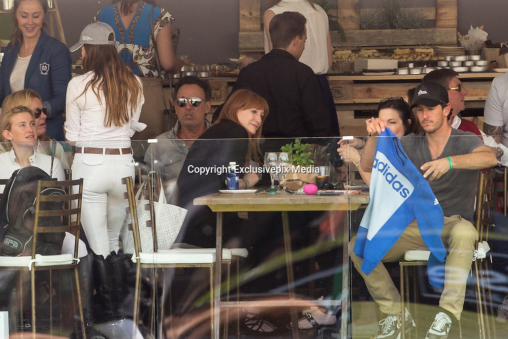 MADRID, SPAIN, 2016, MAY 21 <br /> <br /> Bruce Springsteen, who closed his Spanish tour at the Santiago Bernabeu Stadium, went before the concert, the Club de Campo de Madrid to see compete her daughter Jessica Springsteen at the 106th International Jumping Competition, held at the facility. The daughter is very fond of horse racing and by visiting Gijon The Boss was in the racecourse Las Mestas, in this case under the watchful eye of her mother, Patti Scialfa. The presence on the stage of American artist aroused great excitement among the public. Jessica chose to retire after a knockdown,<br /> ©Exclusivepix Media