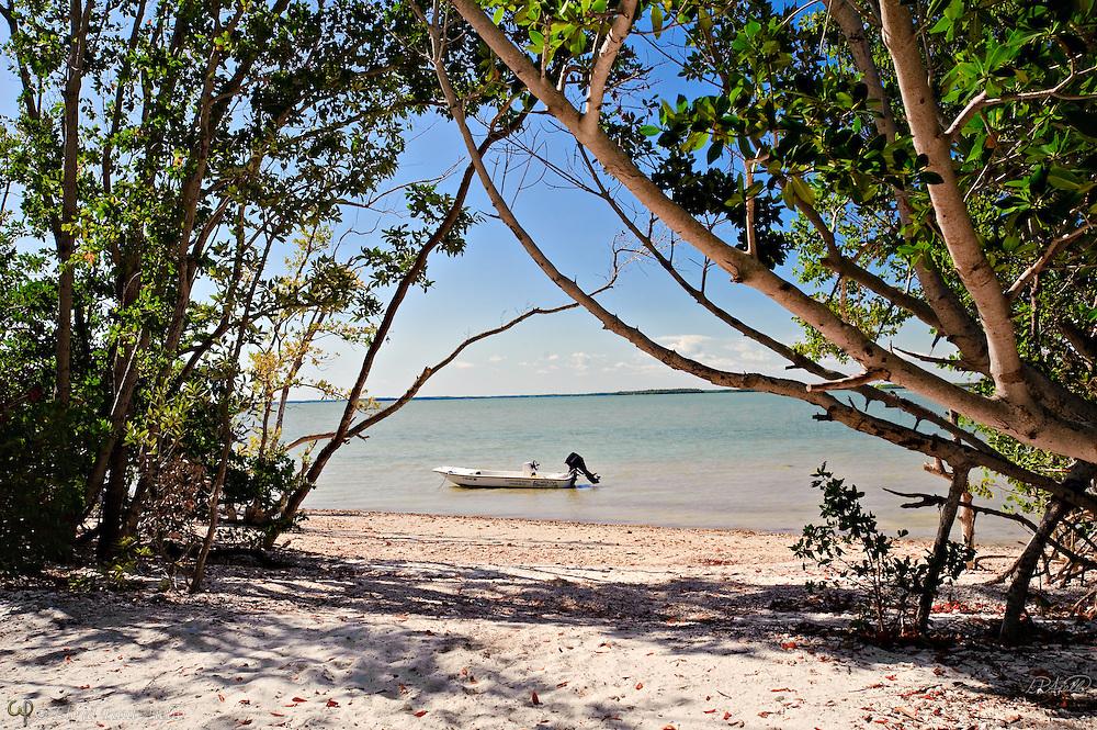Mangroves frame a sand beach and Carolina Skiff at Rabbit Key, Everglades, Florida