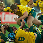 James Slipper, Australia, moves in to tackle Schalk Burger, South Africa, during the South Africa V Australia Quarter Final match at the IRB Rugby World Cup tournament. Wellington Regional Stadium, Wellington, New Zealand, 9th October 2011. Photo Tim Clayton...