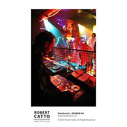 Inside the DJ booth at a Clockwork event, Wellington New Zealand.