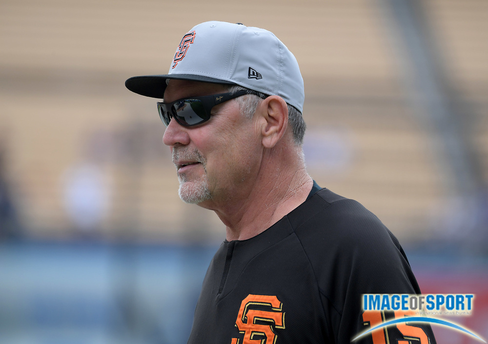 Apr 1, 2018; Los Angeles, CA, USA; San Francisco Giants manager Bruce Bochy (15) during a MLB baseball game against the Los Angeles Dodgers at Dodger Stadium.