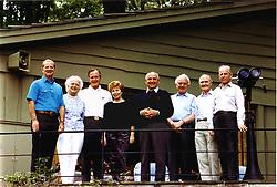 Camp David, Maryland - June 2, 1990 -- (Left to right): James A. Baker, III, United States (U.S.) Secretary of State; U.S. first Lady Barbara Bush; U.S. President George H.W. Bush; Union of Soviet Socialist Republics (U.S.S.R.) first lady Raisa Gorbachev; U.S.S.R. President Mikhail Gorbachev; U.S.S.R. Foreign Minister Eduard Shevardnaze; U.S. National Security Advisor Brent Scowcroft; and U.S.S.R. Marshal Sergei Akhromeyev pose for a group photo during their visit to the presidential retreat Camp David, Maryland on June 2, 1990. Photo by White House/ CNP/ABACAPRESS.COM