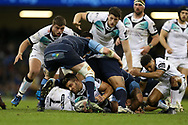 Rhys Webb of the Ospreys (on ground) is held up. Guinness Pro12 rugby match, Judgement day, Cardiff Blues v Ospreys  at the Principality Stadium in Cardiff, South Wales on Saturday 15th April 2017. <br /> pic by Andrew Orchard, Andrew Orchard sports photography.