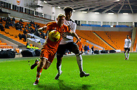Blackpool's Owen Watkinson shields the ball from Derby County's Archie Brown<br /> <br /> Photographer Alex Dodd/CameraSport<br /> <br /> The FA Youth Cup Third Round - Blackpool U18 v Derby County U18 - Tuesday 4th December 2018 - Bloomfield Road - Blackpool<br />  <br /> World Copyright © 2018 CameraSport. All rights reserved. 43 Linden Ave. Countesthorpe. Leicester. England. LE8 5PG - Tel: +44 (0) 116 277 4147 - admin@camerasport.com - www.camerasport.com