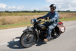 Kelly Modlin riding his 1928 Indian in the Motorcycle Cannonball coast to coast vintage run. Stage 7 (274 miles) from Cedar Rapids to Spirit Lake, IA. Friday September 14, 2018. Photography ©2018 Michael Lichter.