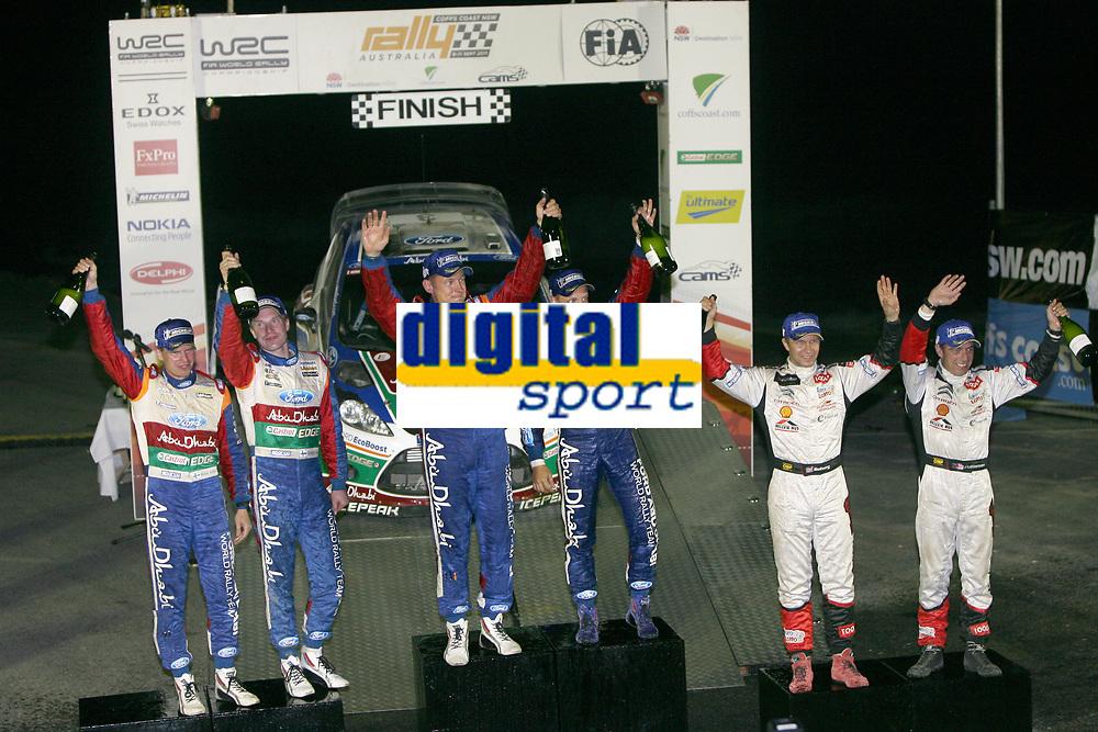 MOTORSPORT - WORLD RALLY CHAMPIONSHIP 2011 - AUSTRALIA RALLY - COFFS HARBOUR (AUS) - 8 TO 11/09/2011 - PHOTO: BASTIEN BAUDIN / DPPI - <br /> 03 MIKKO HIRVONEN (FIN) / JARMO LEHTINEN (FIN) - FORD FIESTA RS WRC - FORD ABU DHABI WORLD RALLY TEAM - 04 JARI-MATTI LATVALA (FIN) / MIIKKA ANTTILA (FIN) - FORD FIESTA RS WRC - FORD ABU DHABI WORLD RALLY TEAM - 11 PETTER SOLBERG (NOR) / CHRIS PATTERSON (GBR) - CITROËN DS3 WRC - PETTER SOLBERG WRT - PODIUM