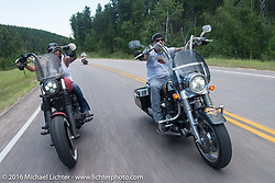 Reed and Debi Holmes on the Annual Cycle Source and Michael Lichter Rides (combined this year) left from the new Broken Spoke area of the Iron Horse Saloon during the Sturgis Black Hills Motorcycle Rally. SD, USA.  Wednesday, August 10, 2016.  Photography ©2016 Michael Lichter.