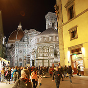 FLORENCE, ITALY - OCTOBER 31:  A night time view of Florence's Cathedral, Basilica di Santa Maria del Fiore, known as Duomo in Florence, Italy. The Duomo is the main church of the city of Florence. Construction was started in 1296 in the Gothic style with the structure completed in 1436. The famous dome was designed by Arnolfo di Cambio and engineered by Filippo Brunelleschi. Florence, Italy, 31st October 2017. Photo by Tim Clayton/Corbis via Getty Images)