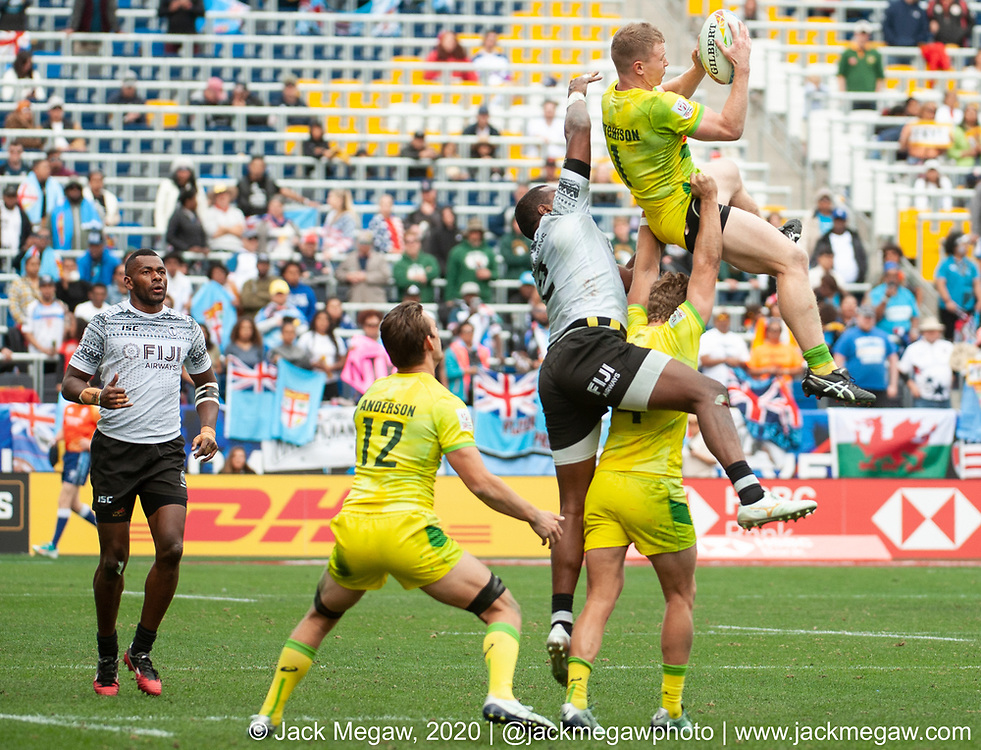 M39 - Fiji play Australia in the Cup Semi Final of the 2020 Los Angeles Sevens at Dignity Sports Health Park in Los Angeles, California. March 1, 2019. <br /> <br /> © Jack Megaw, 2020