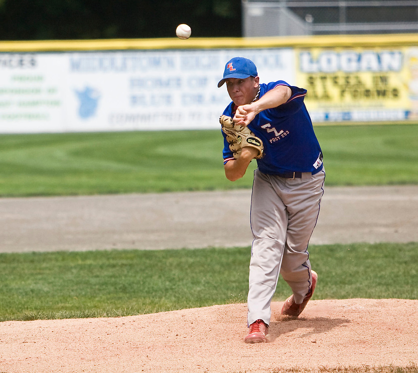 MIDDLETOWN, CT - 05 AUGUST 2010 -.East Longmeadow Post 293's pitcher Steven Moyers during Thursday's American Legion Northeast Regional Tournament game at Palmer Field in Middletown..Photo by Josalee Thrift