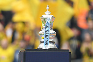 The FA Cup on its pedistool before the The FA Cup Final match between Manchester City and Watford at Wembley Stadium, London, England on 18 May 2019.