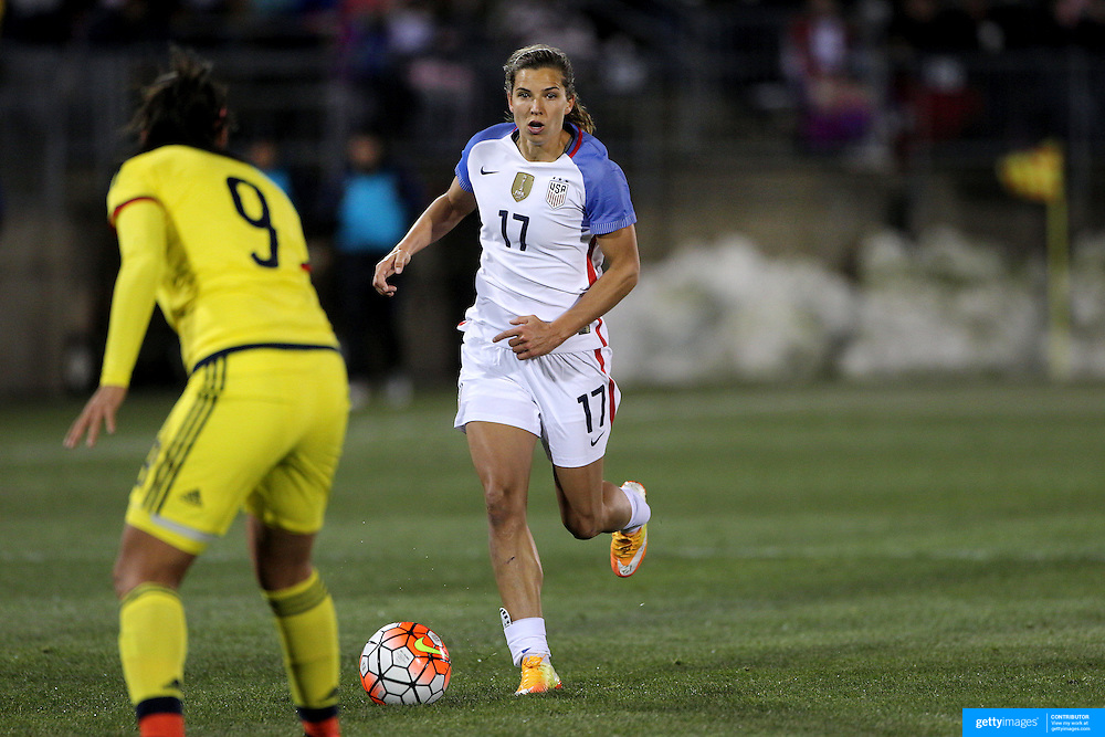 Tobin Heath, USA, in action during the USA Vs Colombia, Women's International friendly football match at the Pratt & Whitney Stadium, East Hartford, Connecticut, USA. 6th April 2016. Photo Tim Clayton