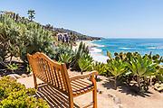 Wood Bench Sits on the Bluff Overlooking Laguna Beach Coastline
