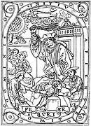 Schoolboy having knowledge beaten into him with the birch, a scene familiar to schoolboys in Europe and Britain. Illustration for February from 'Les petites Heures a l'usage de Chartres',  1526. Woodcut .