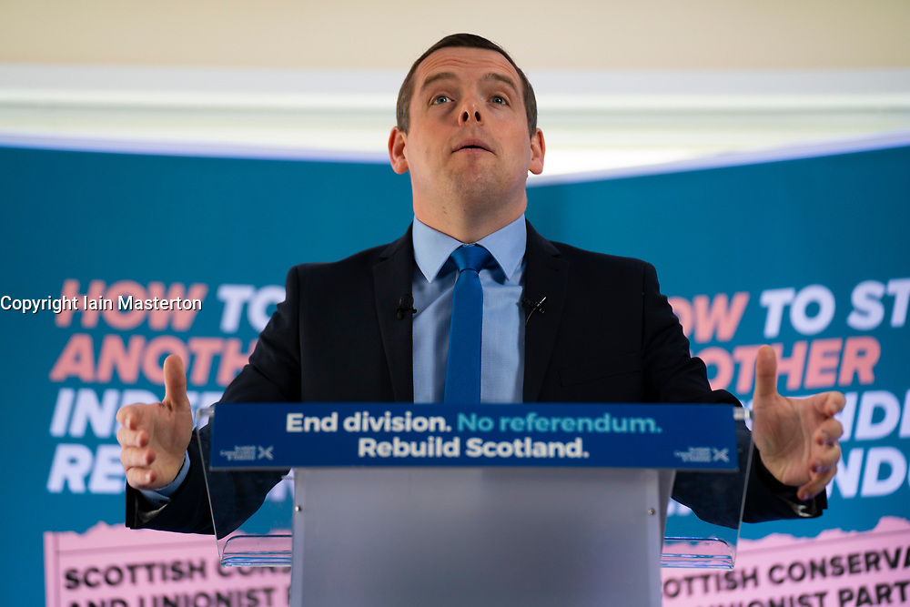 Coldstream, Scotland, UK. 29 April 2021. Douglas Ross, leader of the Scottish Conservative party makes speech in Coldstream in the Scottish Borders calling on pro-UK voters to use their peach party list votes to save Scotland's recovery and stop another referendum.   Iain Masterton/Alamy Live News