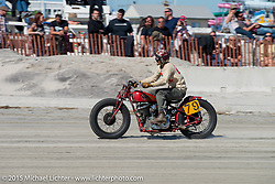 Go Takamine on his Indian Chief racing on the beach during the Race of Gentlemen. Wildwood, NJ, USA. October 11, 2015.  Photography ©2015 Michael Lichter.