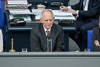 14 FEB 2019, BERLIN/GERMANY:<br /> Wolfgang Schaeuble, MdB, CDU, Bundestagspraesident, Bundestagsdebatte, Plenum, Deutscher Bundestag<br /> IMAGE: 20190214-01-065<br /> KEYWORDS: Bundestag, Debatte