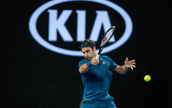 January 20, 2019 - Melbourne, VIC, U.S. - MELBOURNE, VIC - JANUARY 20: ROGER FEDERER (SUI) during day seven match of the 2019 Australian Open on January 20, 2019 at Melbourne Park Tennis Centre Melbourne, Australia (Photo by Chaz Niell/Icon Sportswire) (Credit Image: © Chaz Niell/Icon SMI via ZUMA Press)