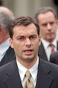 Hungarian Prime Minister Viktor Orban talks to reporters following his meeting with President Clinton at the White House October 7, 1998 in Washington, DC. Orban said he would like to see a peaceful solution in Kosovo but Hungary stands ready to support any decision by NATO.