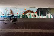 In Eindhoven passeert een fietser een muurschildering in een tunnel.<br /> <br /> In Eindhoven a cyclist passes a mural in a tunnel.