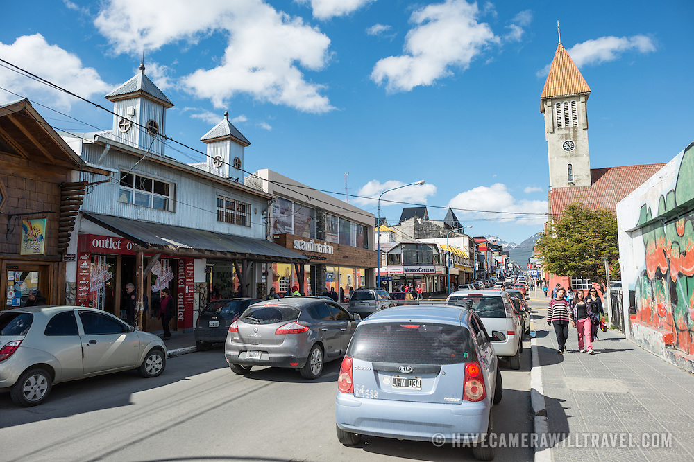 A street in the downtown area of Ushuaia, Argentina.