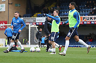 Southend United attacker Simon Cox (10), Southend United midfielder Timothee Dieng (8), and Southend United attacker Harry Bunn (30) warming upduring the EFL Sky Bet League 1 match between Southend United and AFC Wimbledon at Roots Hall, Southend, England on 16 March 2019.