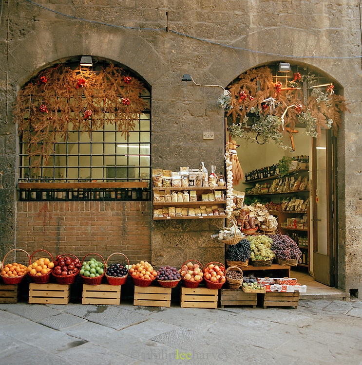 A local grocery shop in Siena, Tuscany, Italy