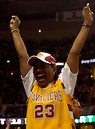 PHOTO BY DAVID RICHARD.Gloria James, the mother of Cleveland Cavalier LeBron James, cheers on her son in his first playoff game in the NBA. The 21-yearl-old didn't let her down as he recorded a triple-double - the first in Cavaliers' playoff history.