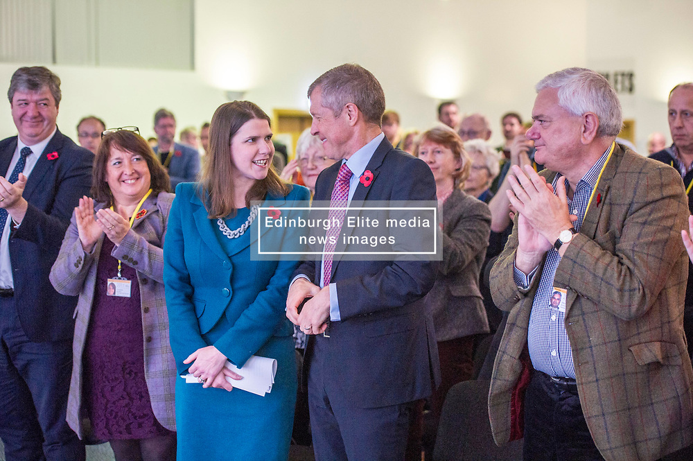 Pictured: Alistair Carmichael, MSP, Christine Jardine, MP,  Willie Rennie; and Mike Rumbles congratulate Jo Swinton on her speech.<br /> <br /> The Scottish Liberal Democrats stalwarts gathered today in Dunfermline for their Autumn Conference<br /> <br /> Ger Harley   EEm 11 November 2017