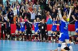 Neli Irman of SLovenia celebrates after winning during handball game between Women National Teams of Slovenia and Switzerland in 2014 Women's European Championship Qualification, on March 30, 2014 in Arena Kodeljevo, Ljubljana, Slovenia. Photo by Vid Ponikvar / Sportida