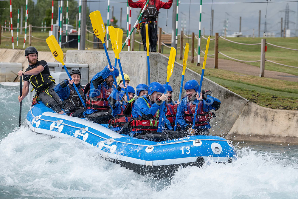 Team white water rafting at Lee Valley White Water Centre on the 7th June 2019 in London in the United Kingdom.