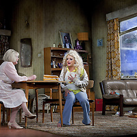 Louise McCarthy  and Barbara Rafferty <br /> <br /> Yer Granny - a new production by The National Theatre of Scotland opens at the Beacon arts Centre, Greenock, Scotland.<br /> <br /> <br /> Based on La Nona by Roberto Cossa<br /> In a new version by Douglas Maxwell<br /> Directed by Graham McLaren<br /> <br /> <br /> Picture by Drew Farrell<br /> Tel : 07721-735041<br /> Image offered on a speculative basis.<br /> <br /> Yer Granny is a riotous new comedy about a diabolical 100-year-old granny who's literally eating her family out of house and home. She's already eaten their fish and chip shop into bankruptcy and now she's working her way through their kitchen cupboards, pushing the Russo family to desperate measures just to survive beyond 1977.<br /> <br /> As proud head of the family, Cammy is determined that The Minerva Fish Bar will rise again and that family honour will be restored – and all in time for the Queen's upcoming Jubilee visit. But before Cammy's dream can come true and before Her Maj can pop in for a chat, a single sausage and a royal seal of approval, the family members must ask themselves how far they will go to solve a problem like Yer Granny.<br /> <br /> Adapted from the smash-hit Argentinian comedy classic La Nona, the cast of Yer Granny features some of Scotland's best-loved performers, including Gregor Fisher in the title role, alongside Paul Riley (Still Game), Jonathan Watson (Only An Excuse?), Maureen Beattie (Casualty), Barbara Rafferty (Rab C Nesbitt), Brian Pettifer (The Musketeers) and Louise McCarthy (Mamma Mia!, West End).<br /> <br /> Performance dates :<br /> The Beacon Arts Centre, Greenock<br /> 19/05/2015-21/05/2015 <br /> <br /> King's Theatre, Glasgow<br /> 26/05/2015-30/05/2015 <br /> <br /> King's Theatre, Edinburgh<br /> 02/06/2015-06/06/2015 <br /> <br /> Eden Court, Inverness<br /> <br /> Lyric Theatre, Belfast<br /> 23/06/2015-27/06/2015 <br /> <br /> Dundee Rep Theatre<br /> 30/06/2015-04/07/2015