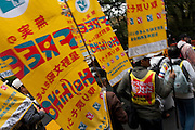 Demo by left wing groups in Hibiya, Tokyo, Japan Sunday November 6th 2011