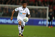 Jordan Ayew of Swansea City in action. EFL Carabao Cup 4th round match, Swansea city v Manchester Utd at the Liberty Stadium in Swansea, South Wales on Tuesday 24th October 2017.<br /> pic by  Andrew Orchard, Andrew Orchard sports photography.