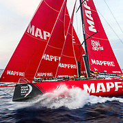 Leg 01, Alicante to Lisbon, day 05, on board MAPFRE. End of the day and the wind doesn't seem to go up again, althought we still fighting against the waves. Photo by Ugo Fonolla/ MAPFRE/ Volvo Ocean Race. 26 October, 2017