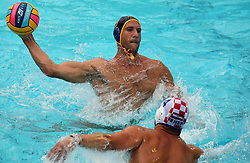 July 24, 2018 - Barcelona, Spain - Aleksandar Ivovic (Montenegro) and Luka Loncar (Croacia) during the match between Croacia and Montenegro, corresponding to the women group stage of the European Water Polo Championship, on 19th July, 2018, in Barcelona, Spain. (Credit Image: © Joan Valls/NurPhoto via ZUMA Press)